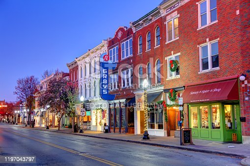 Franklin, Tennessee, USA - November 14, 2019: Morning view of shops and restaurants on Historic Franklin Main Street in the downtown district