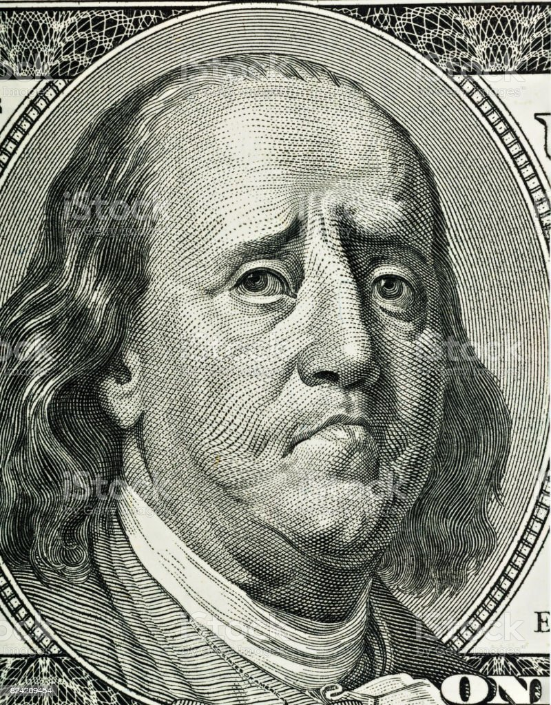 Franklin's cartoon portrait stock photo