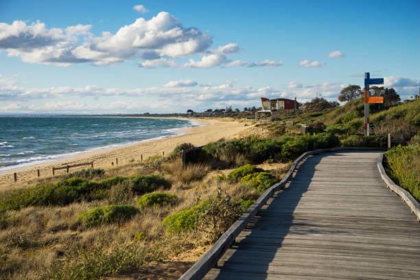 frankston beach, melbourne - zuidoost stockfoto's en -beelden
