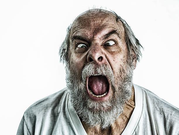 frantic idoso gritar - boca suja imagens e fotografias de stock