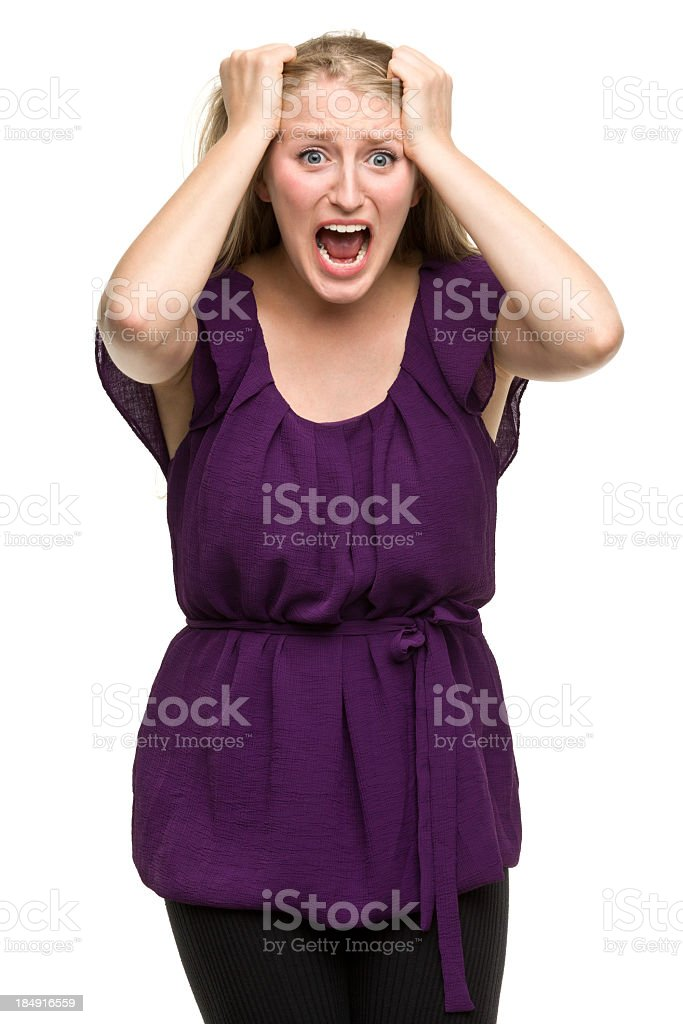 Frantic Young Woman Screaming stock photo