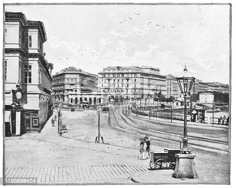Franz Joseph Quay on the Donaukanal in Vienna, Austria. The Austro-Hungarian Empire era (circa 19th century). Vintage halftone photo etching circa late 19th century.