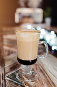 Hot coffee latte on the table, Delicious Frappe Coffee