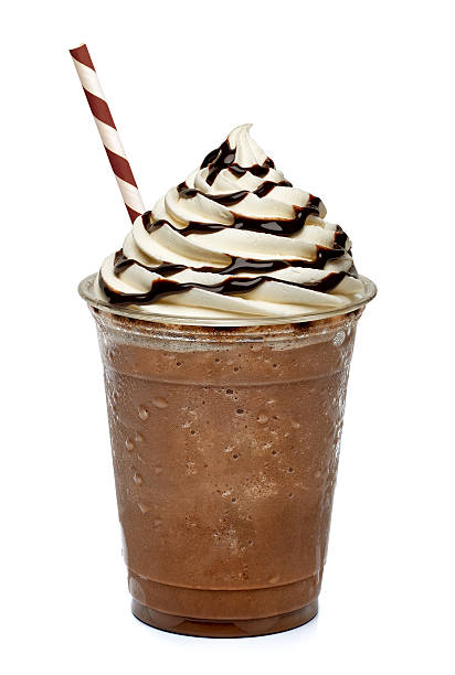 frappuccino in take away cup - chocolate syrup stock photos and pictures