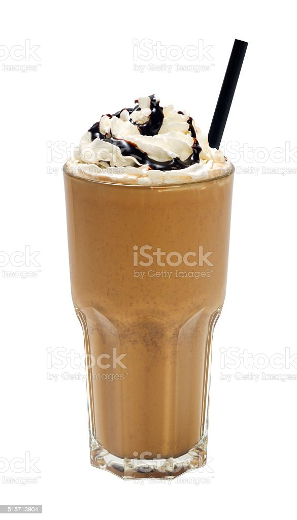 frappuccino with cream and sauce on white background stock photo