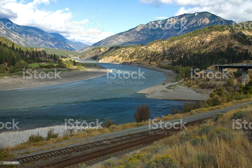 Fraser River and upper Fraser Canyon, British Columbia stock photo