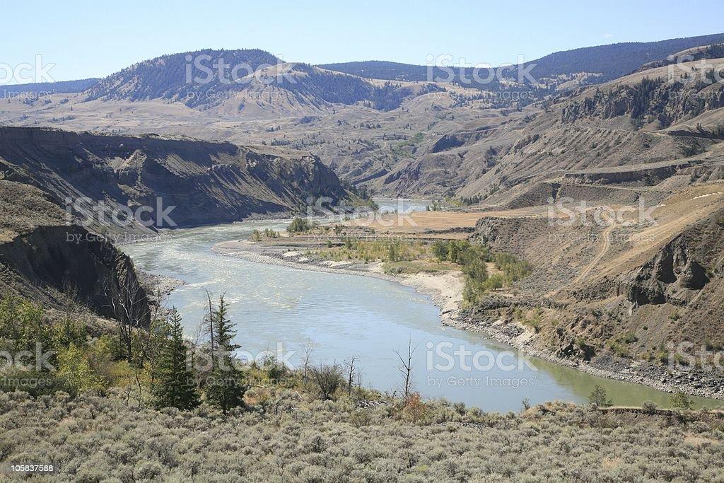Fraser River at Churn Creek south of Williams Lake, BC. stock photo