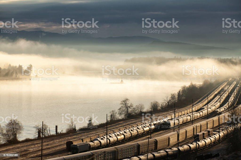 Fraser river at sunrise, BC, Canada stock photo