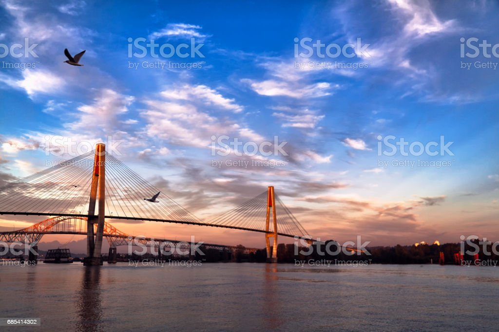 Fraser river at sunset, BC, Canada stock photo