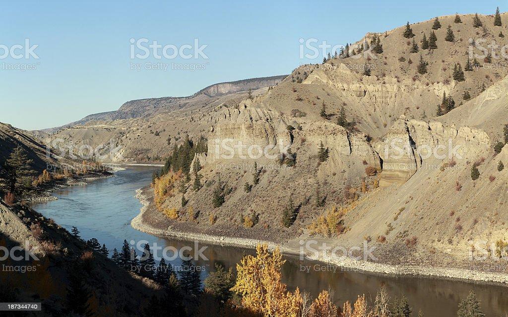 Fraser River Canyon near Gang Ranch Bridge, BC, Canada. stock photo