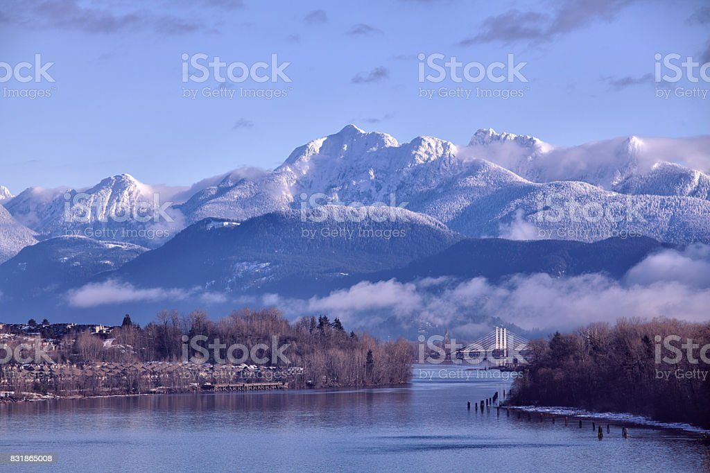 Fraser river in winter, BC, Canada stock photo