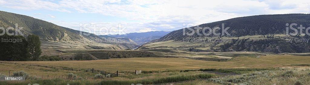 Fraser River panorama near Gang Ranch, B.C. stock photo