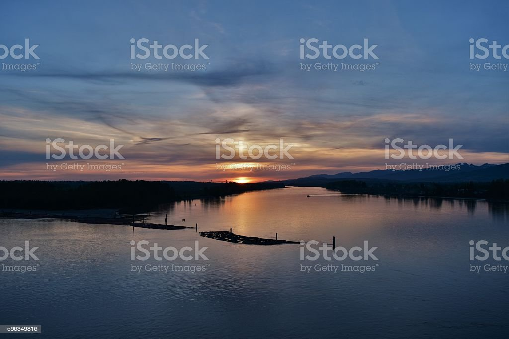 Fraser River Sunset royalty-free stock photo