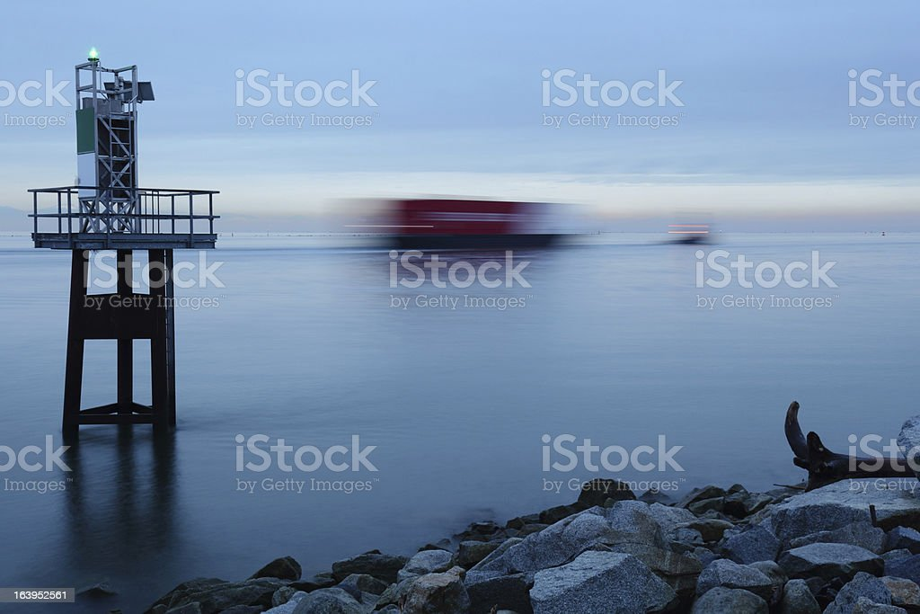 Fraser River Tug and Barge in Motion royalty-free stock photo