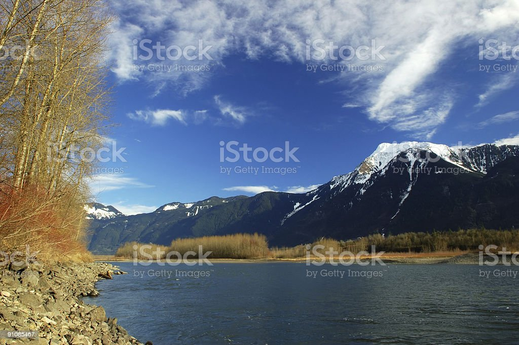 fraser river winter scene stock photo