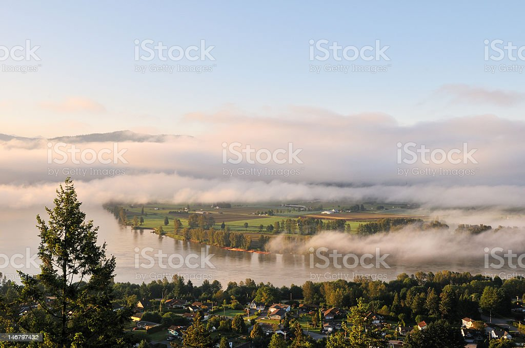 Fraser Valley at foggy sunrise stock photo