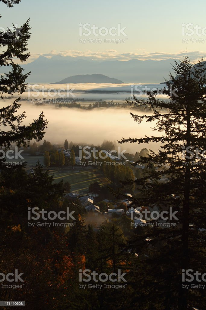 Fraser Valley Morning Fog, British Columbia stock photo