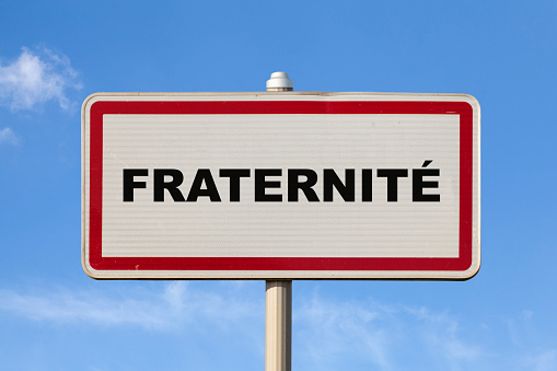 Fraternity French Entry City Sign Stock Photo - Download Image Now