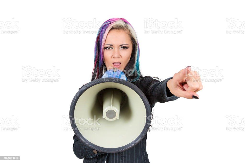 Frau mit Megaphone stock photo