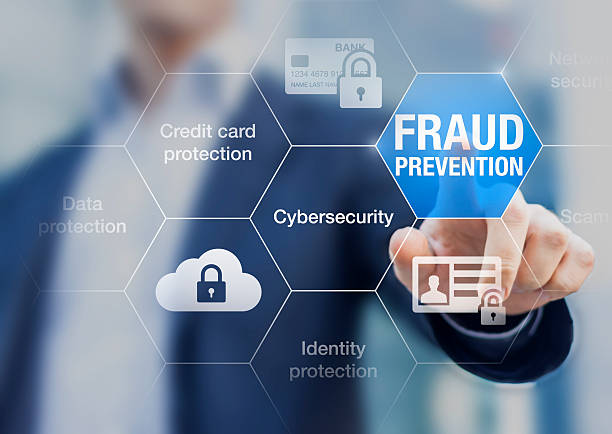fraud prevention button, concept about cybersecurity and credit card protection - protezione foto e immagini stock