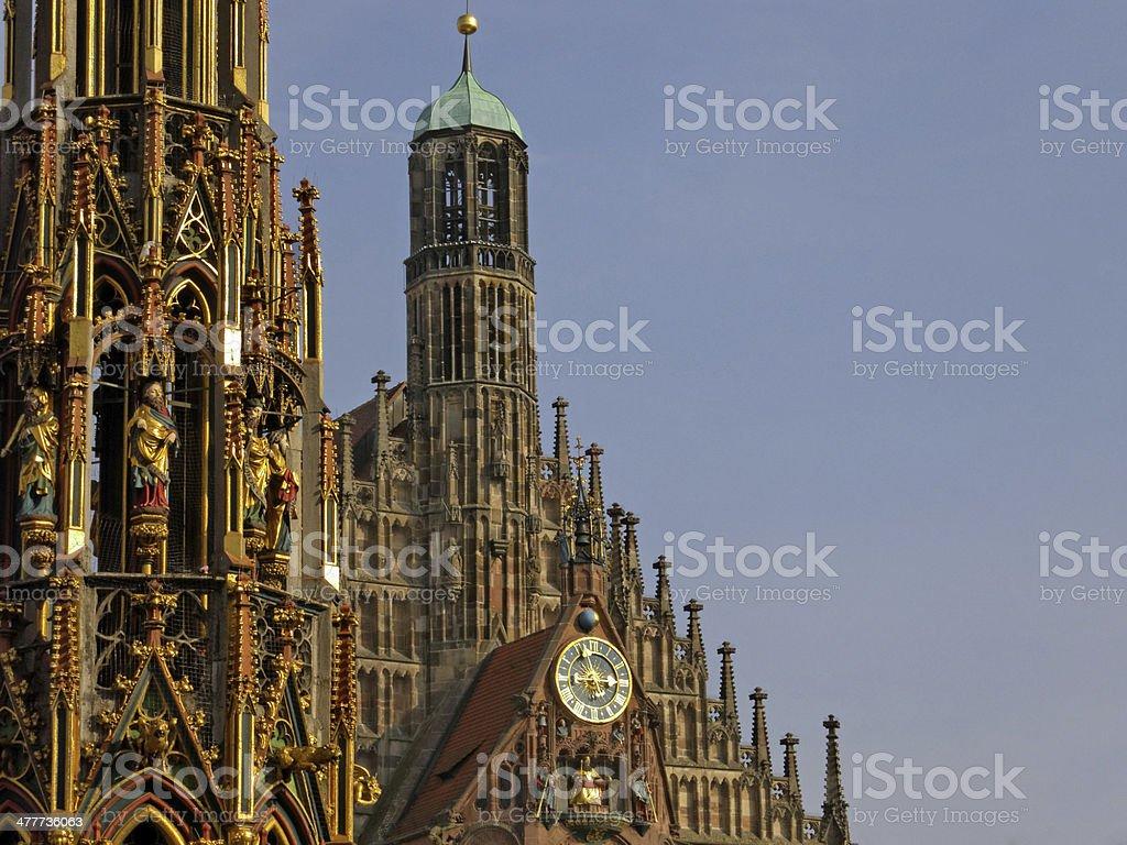 Frauenkirche and schoener Brunnen in Nuremberg - gothic style royalty-free stock photo