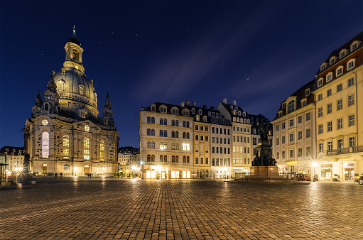 Frauenkirche church in Dresden square in Germany.