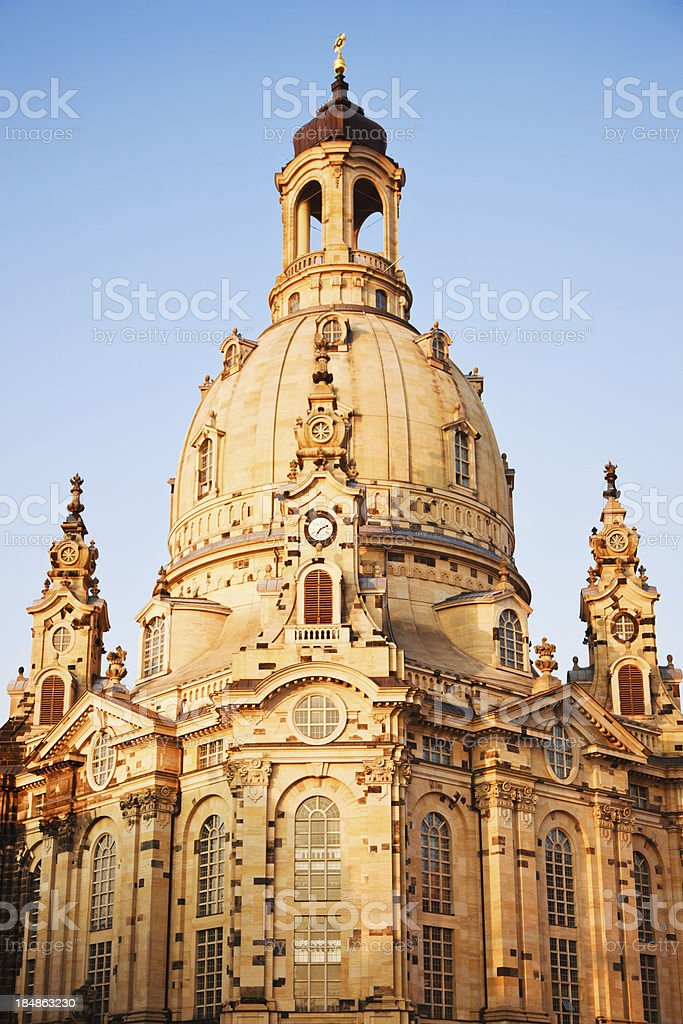 Frauenkirche Church of Our Lady Dresden Saxony Germany Clock Tower royalty-free stock photo