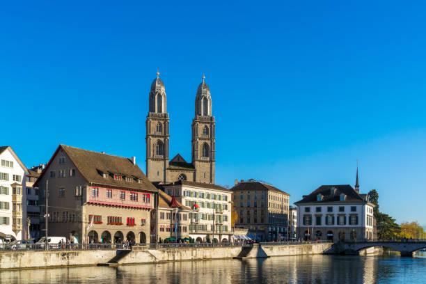 Fraumunster and Grossmunster churches in sunset light, Zurich, Switzerland stock photo