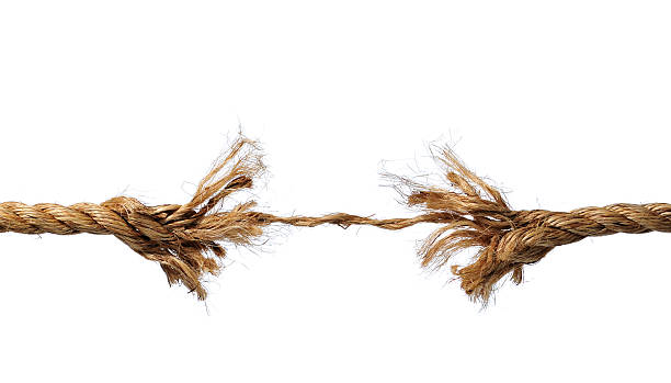 frayed rope about to break - decrepitude stock pictures, royalty-free photos & images