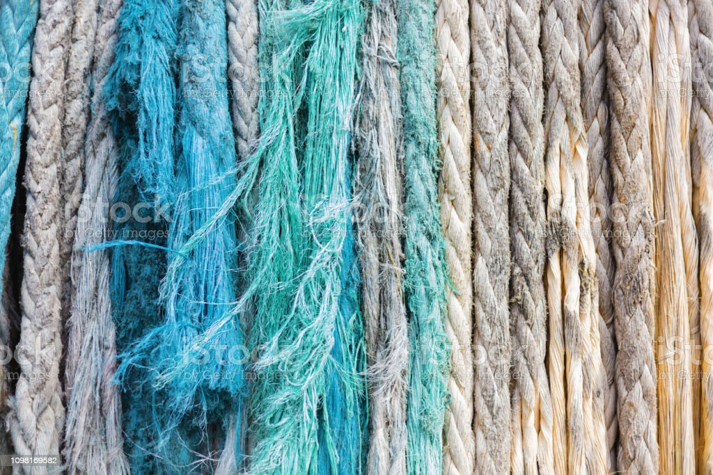 Frayed Weathered Ropes In Nassau Bay Environment Pattern Texture Background stock photo