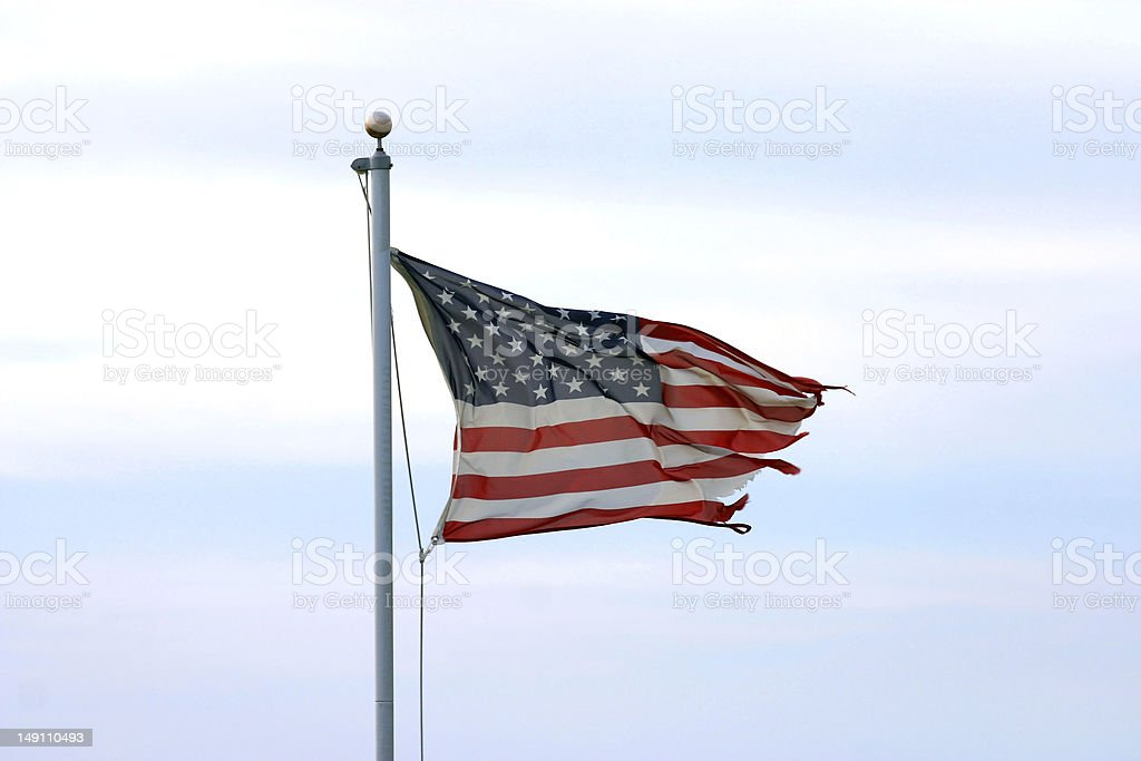 Fraying American Flag stock photo