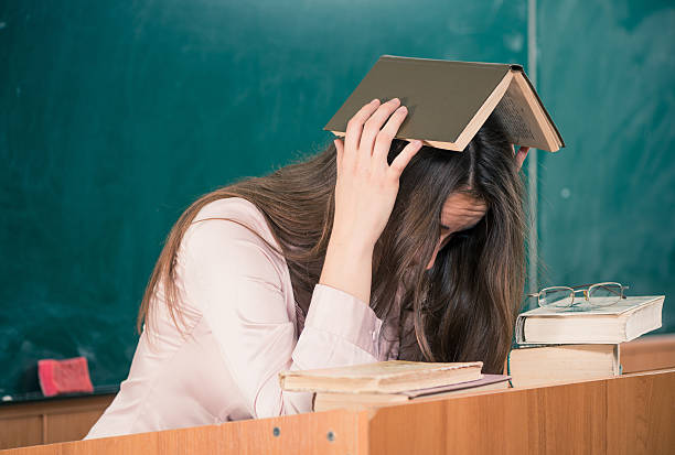 frazzled teacher stock photo