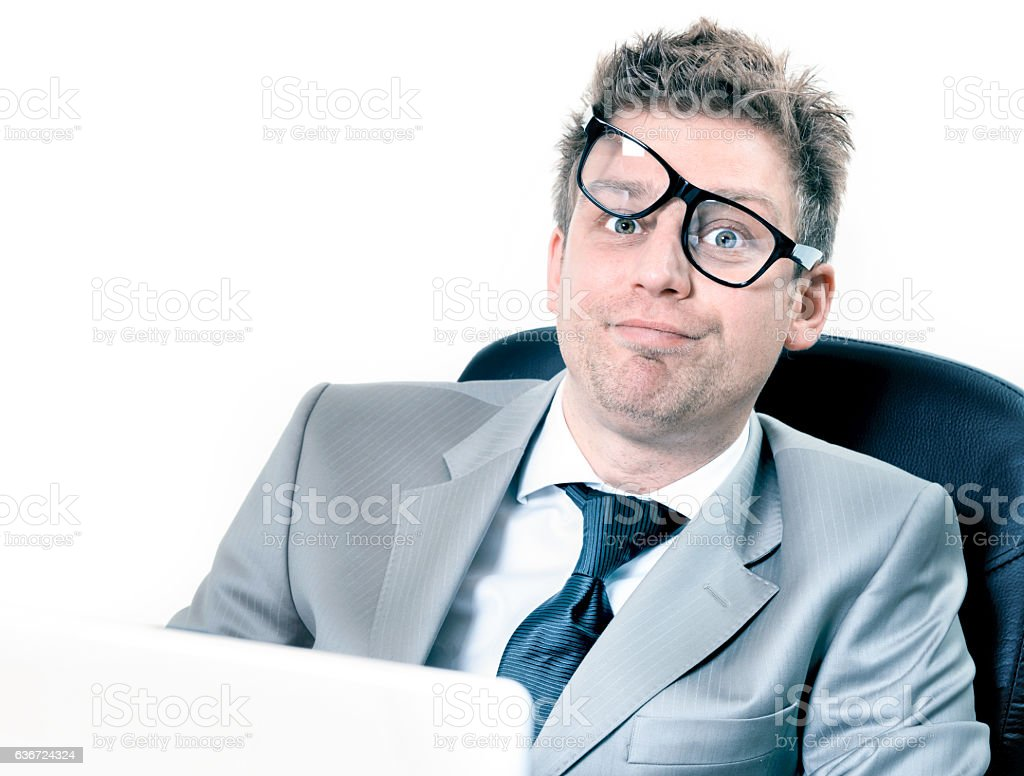 freak out of crazy manager at the office stock photo