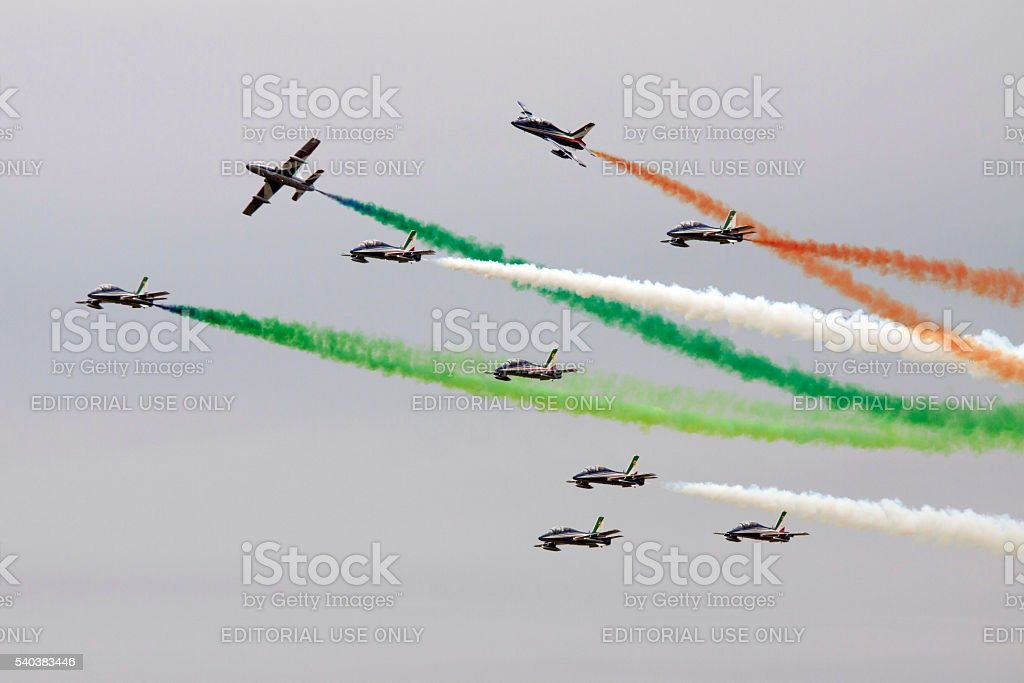 Frecce Tricolore stunt team stock photo