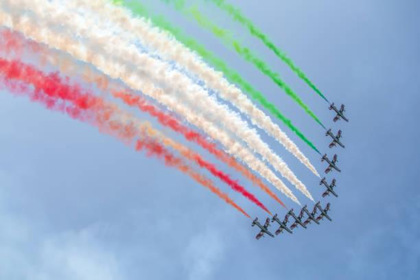 Frecce tricolori in action stock photo