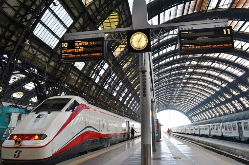 Freccia Argento - White Arrow - high speed train is ready for departure to Venice in the Milan Central railway station.