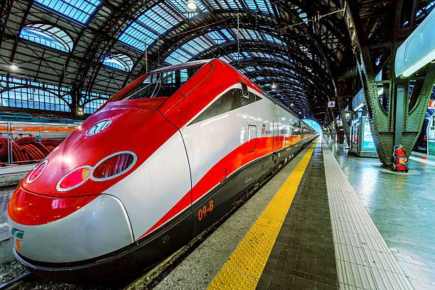Frecciarossa on Milan Central Station. stock photo