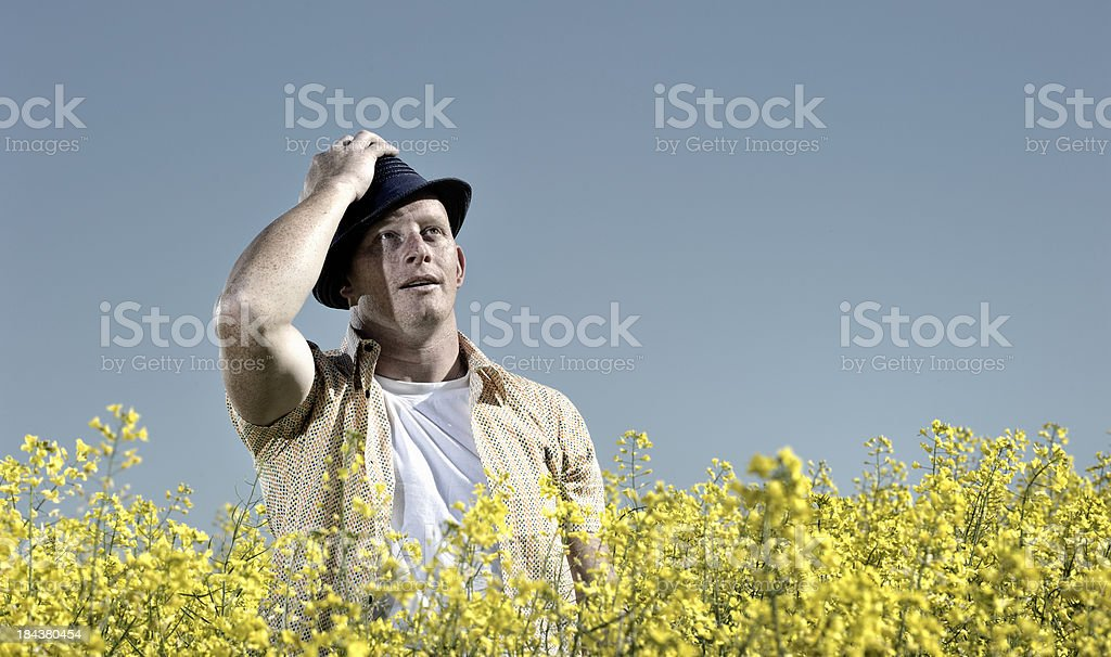 Freckled man with hat in canola fields stock photo