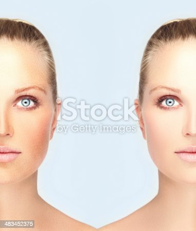 Freckles.Portrait of a beautiful blond woman with blue eyes. Model's face divided in two parts
