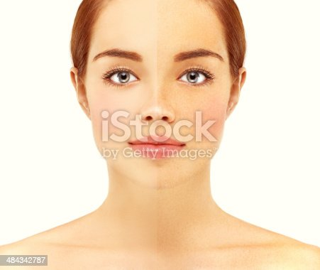 istock Freckles.Portrait of a beautiful  girl with blue eyes. 484342787