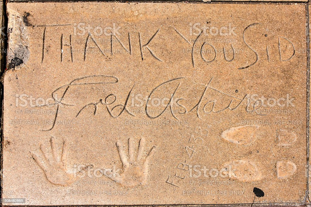 Fred Astaire hand and shoe prints in Hollywood CA stock photo