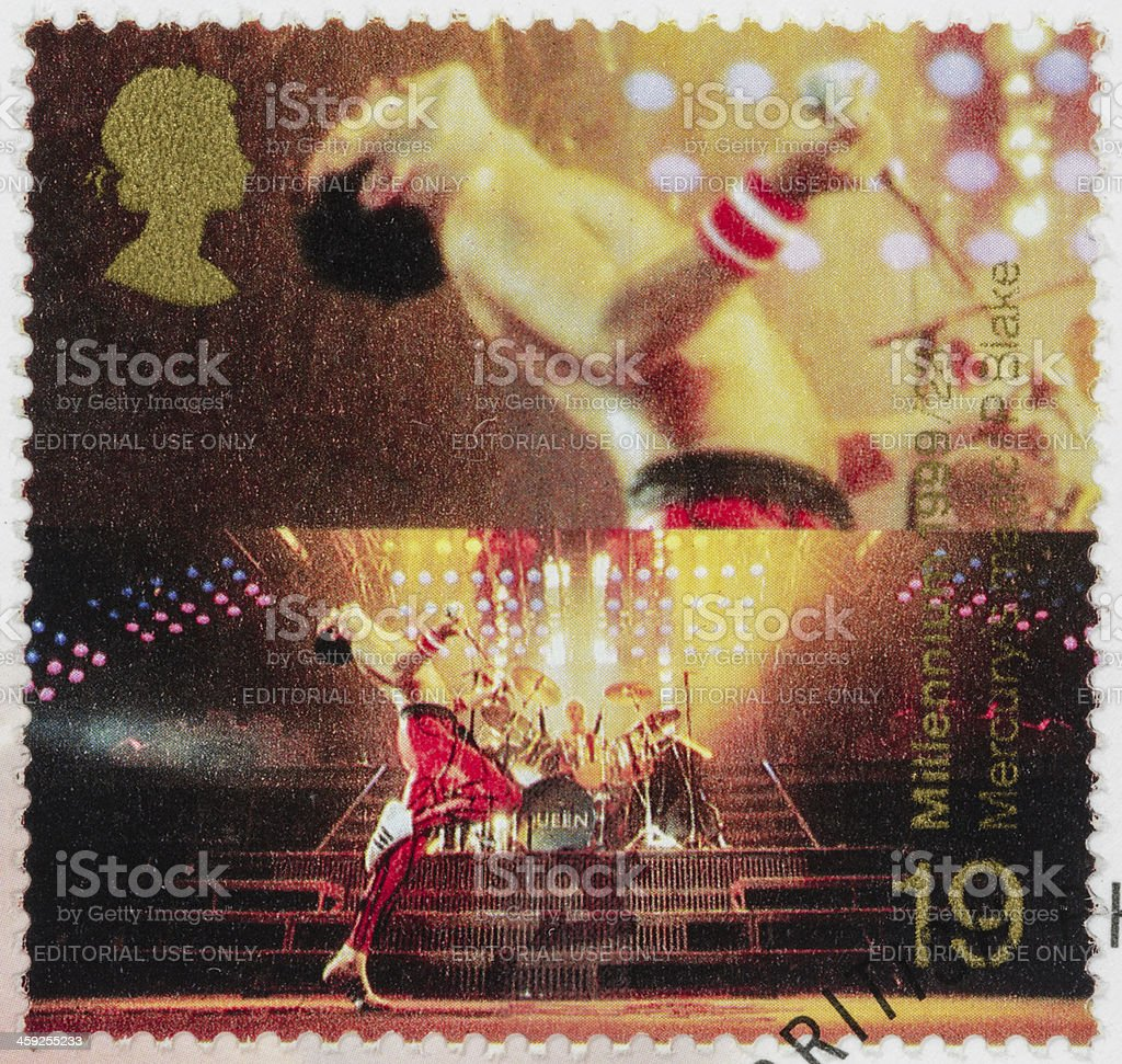 UK Freddie Mercury postage stamp stock photo