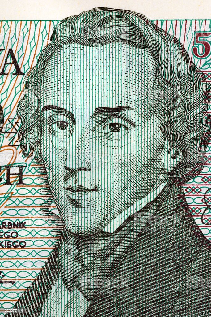 Frederic Chopin portrait from old five thousand zloty stock photo