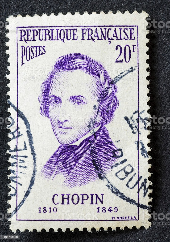 Frederic Chopin Stamp royalty-free stock photo
