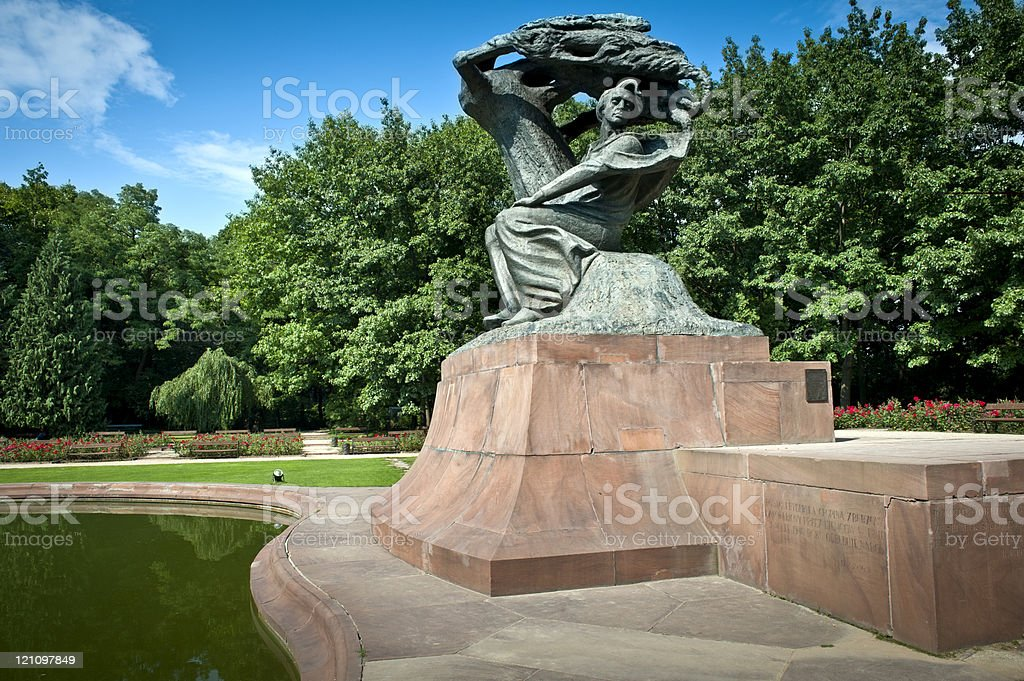 Frederick Chopin monument in summer stock photo
