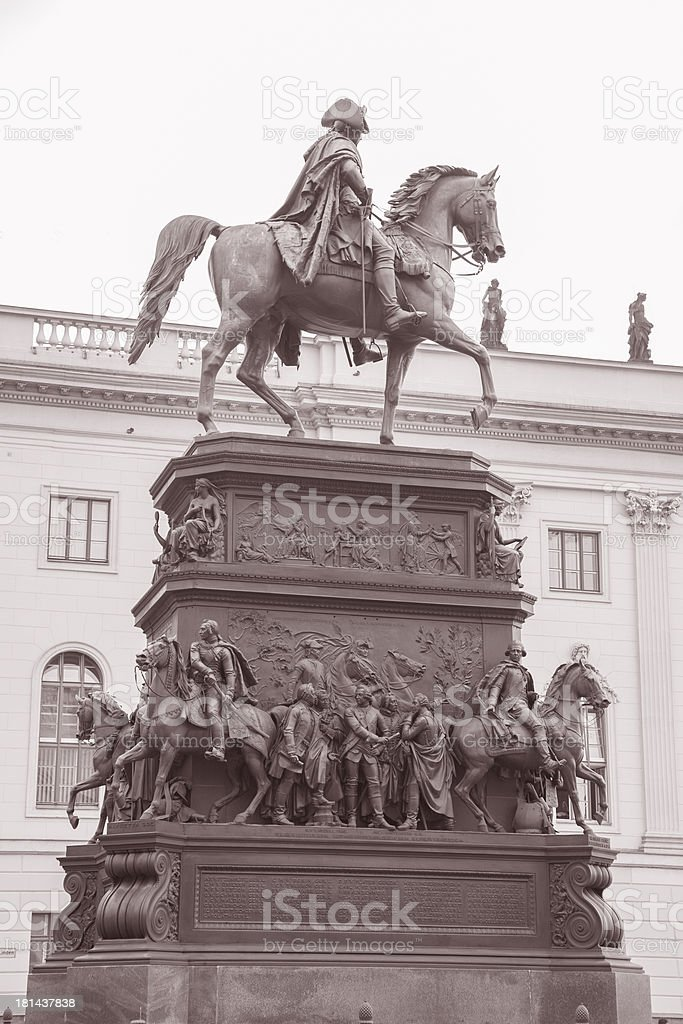 Frederick the Great Statue in Berlin stock photo
