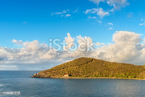Frederik Point cape at Hassel Island Historic District, Saint Thomas Island, U.S. Virgin Islands in the Caribbean. Frederik Point is situated south of Charlotte Amalie.