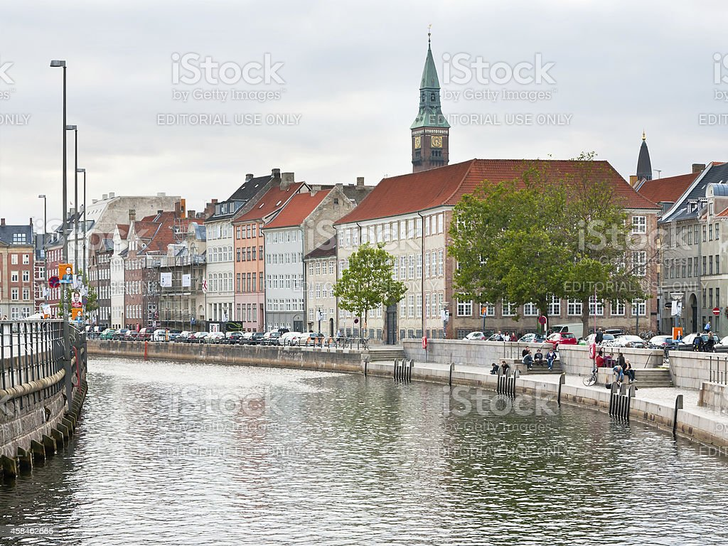 Frederiksholms Kanal and view on Town Hall tower in Copenhagen stock photo