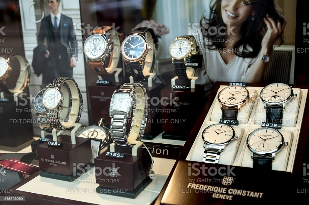 Berlin, Germany - April 26, 2016: Frederique Constant watches stock photo