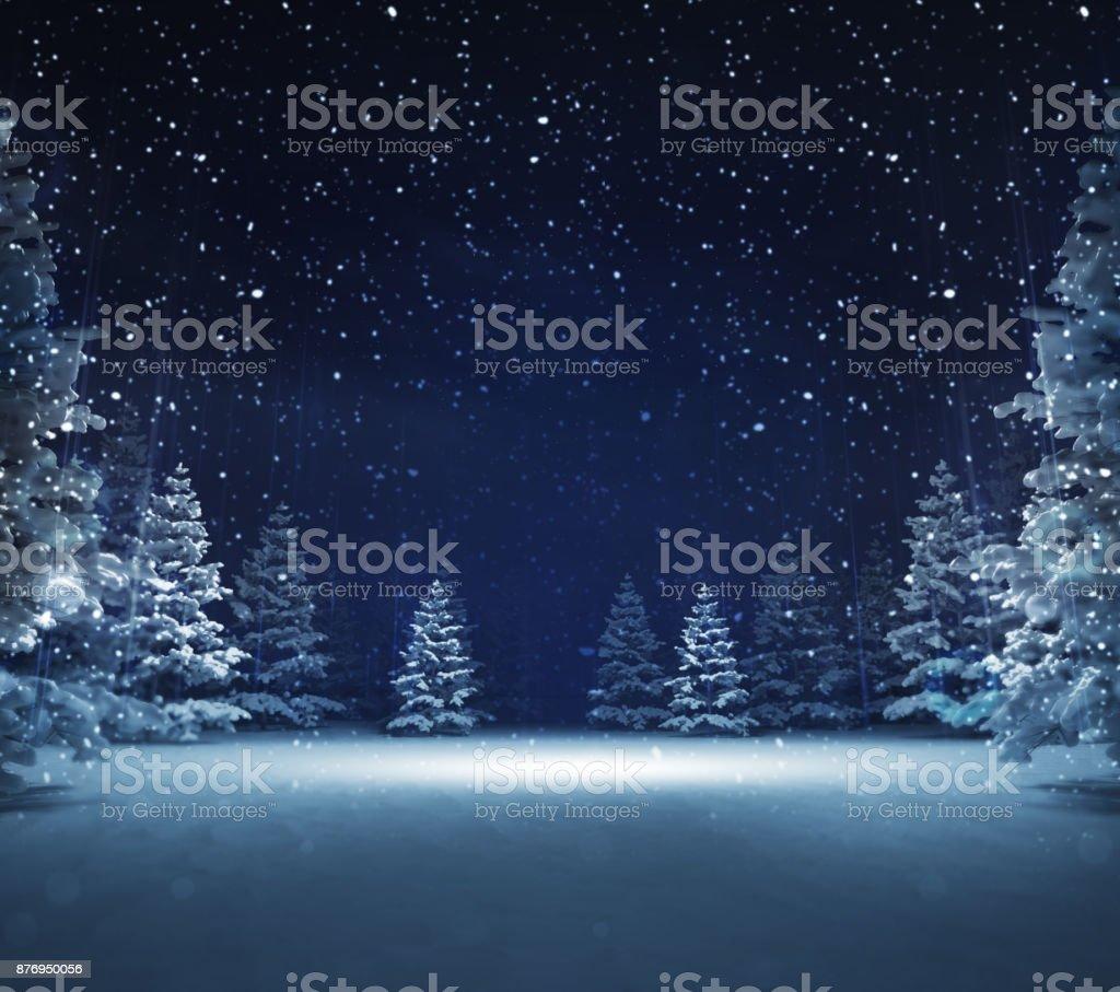 겨울 눈 덮인 숲에서 자유 지역 - 로열티 프리 0명 스톡 사진